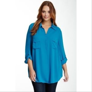 Pleione Blue Button Up Erin Top 1X